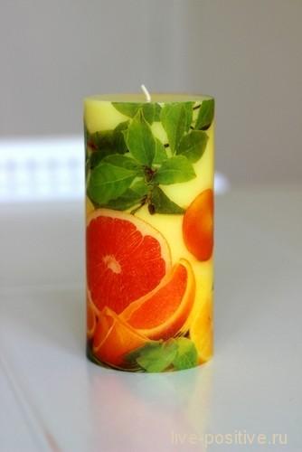 Апельсиновая свеча, декупаж