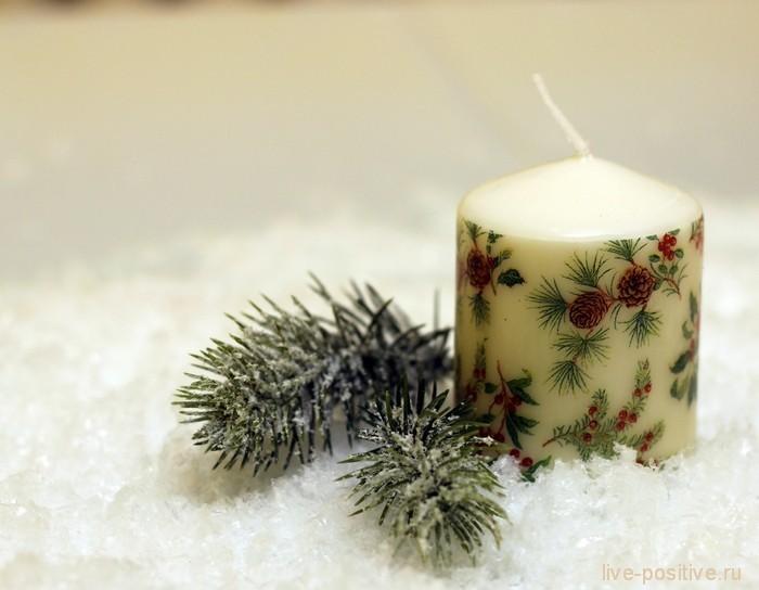"""Рождественский декор свечи - """"Веточки"""""""