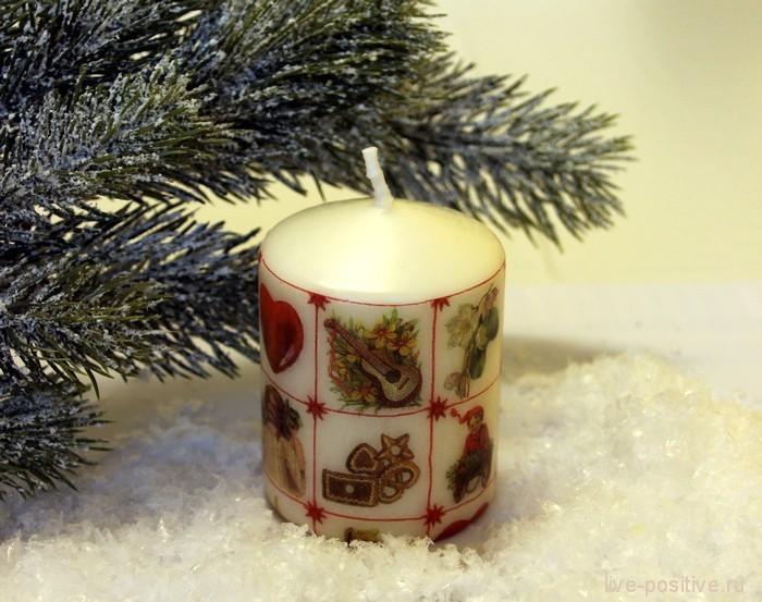 """Рождественский декор свечи - """"Подарочки"""""""