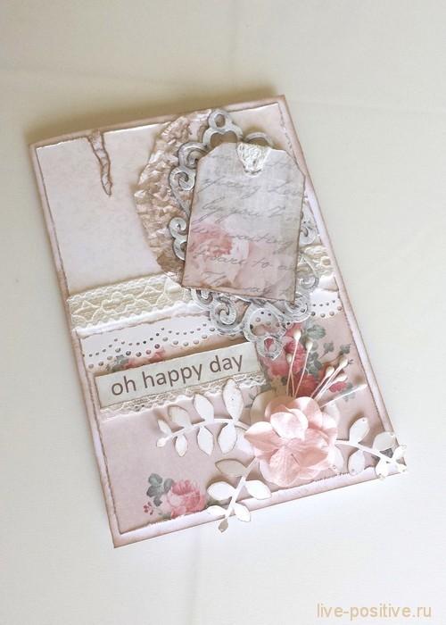 Скрапбукинг-открытка, стиль винтаж